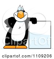 Clipart Penguin Leaning On A Sign Royalty Free Vector Illustration
