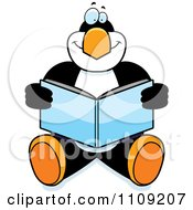 Clipart Penguin Sitting And Reading Royalty Free Vector Illustration by Cory Thoman