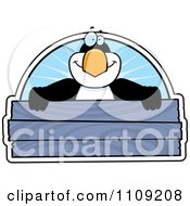 Clipart Penguin Holding A Wooden Sign Royalty Free Vector Illustration
