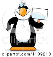 Clipart Penguin Holding A Sign Royalty Free Vector Illustration by Cory Thoman