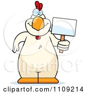 Clipart White Chicken Holding A Sign Royalty Free Vector Illustration