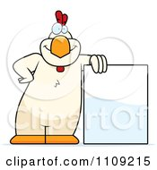 Clipart White Chicken Leaning On A Sign Royalty Free Vector Illustration
