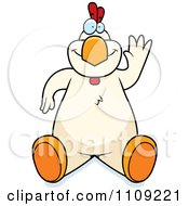 Clipart White Chicken Sitting And Waving Royalty Free Vector Illustration