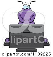 Clipart Purple Bug Using A Computer Royalty Free Vector Illustration by Cory Thoman