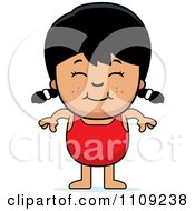 Clipart Happy Asian Girl In A Bathing Suit Royalty Free Vector Illustration