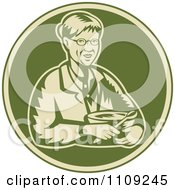Clipart Retro Woodcut Granny Holding A Mixing Bowl In A Green Circle Royalty Free Vector Illustration