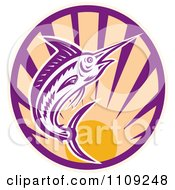 Clipart Retro Marlin Jumping Over A Sunset Circle Royalty Free Vector Illustration