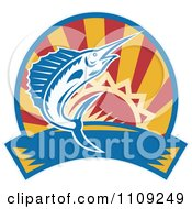 Clipart Retro Marlin Jumping Over A Sunset Circle And Banner Royalty Free Vector Illustration
