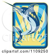 Clipart Retro Marlin Jumping Over A Sunset With Droplets Royalty Free Vector Illustration