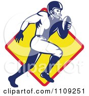 Clipart Retro American Football Player Quaterback Running Over A Diamond Royalty Free Vector Illustration