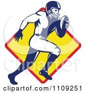 Retro American Football Player Quaterback Running Over A Diamond