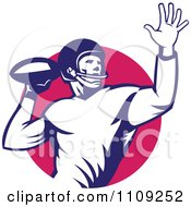 Clipart Retro American Football Player Quaterback Throwing The Ball Over A Circle Royalty Free Vector Illustration