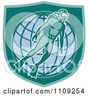 Clipart Retro Scuba Diver Over A Wire Globe And Shield Royalty Free Vector Illustration