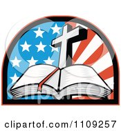 Clipart Retro Open Holy Bible With A Cross Over An American Flag Arch Royalty Free Vector Illustration