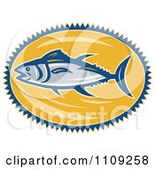 Clipart Retro Bluefin Tuna Fish Over A Yellow Oval Royalty Free Vector Illustration