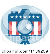 Clipart Retro American Camera With Stars And Stripes Over A Blue Oval Royalty Free Vector Illustration