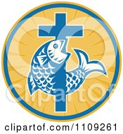 Retro Christian Fish And Cross In A Ray Circle