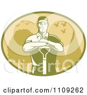Clipart Retro Male Farmer Or Gardener Leaning On A Shovel In An Oval Of Trees Birds And Butterflies Royalty Free Vector Illustration