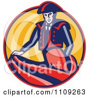 Clipart Retro Bullfighter Matador Swishing His Cape In A Circle Royalty Free Vector Illustration by patrimonio