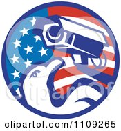 Retro American Surveillance Security Camera And Bald Eagle Over A Circle Flag