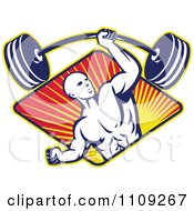 Clipart Retro Bodybuilder Lifting A Barbell With One Hand Over A Diamond Of Rays Royalty Free Vector Illustration