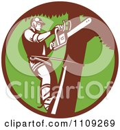 Clipart Retro Arborist Tree Trimmer Using A Saw In A Green Circle Royalty Free Vector Illustration