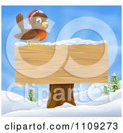 Clipart Christmas Robin With A Santa Hat Perched On A Blank Wooden Sign In The Snow Royalty Free Vector Illustration