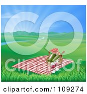 Picnic Blanket And Basket With Wine In A Hilly Spring Landscape With A River And Sunshine