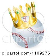Clipart King Baseball Wearing A 3d Golden Crown Royalty Free Vector Illustration by AtStockIllustration