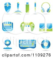 Clipart Green And Blue Computer And Gaming Accessories Royalty Free Vector Illustration