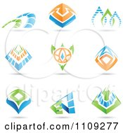Clipart Abstract Green Blue And Orange Mystic Icons Royalty Free Vector Illustration