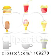 Clipart Fast Food Beverage And Ice Cream Icons With Shadows Royalty Free Vector Illustration by cidepix