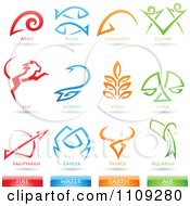 Clipart Astrology Star Signs And Fire Water Earth Air Elements Icons Royalty Free Vector Illustration