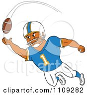 Clipart Black American Football Player Receiver In A Blue Jersey Catching A Ball Royalty Free Vector Illustration by LaffToon