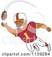 Clipart Black American Football Player Receiver In A Burgundy Jersey Catching A Ball Royalty Free Vector Illustration by LaffToon