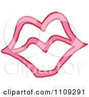 Clipart Pink And White Lips Royalty Free Vector Illustration
