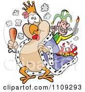 King Chicken Carrying A Drumstick And Being Set On Fire By A Joker