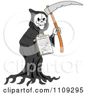 Clipart Grim Reaper Holding A Scythe And Contract Royalty Free Vector Illustration