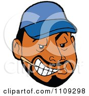Clipart Sly Black Man With A Goatee Wearing A Blue Baseball Cap And Chewing A Toothpick Royalty Free Vector Illustration