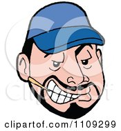 Clipart Sly Caucasian Man With A Goatee Wearing A Blue Baseball Cap And Chewing A Toothpick Royalty Free Vector Illustration
