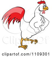 Clipart Tough White Rooster Marching To The Right Royalty Free Vector Illustration
