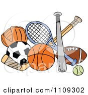 Clipart Baseball Soccer Basketball Hockey Tennis And Football Sports Equipment Royalty Free Vector Illustration by LaffToon