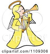 Blond Angel In Yellow Playing A Horn And Holding A Lyre
