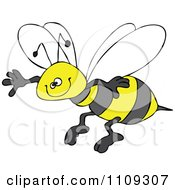 Clipart Happy Honey Bee Grinning And Flying Royalty Free Vector Illustration