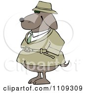 Clipart Investigator Dog In A Trench Coat With His Paws In His Pocket Royalty Free Vector Illustration