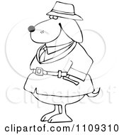 Clipart Outlined Investigator Dog In A Trench Coat Royalty Free Vector Illustration