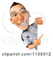 Clipart 3d White German Soccer Player Holding A Sign 1 Royalty Free CGI Illustration