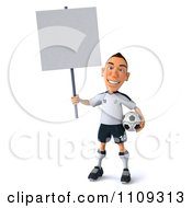Clipart 3d White German Soccer Player Holding A Sign 2 Royalty Free CGI Illustration