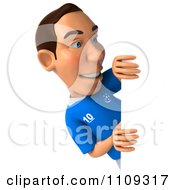 Clipart 3d White Italian Soccer Player Holding A Sign 2 Royalty Free CGI Illustration