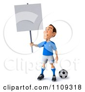 Clipart 3d White Italian Soccer Player Holding A Sign 3 Royalty Free CGI Illustration